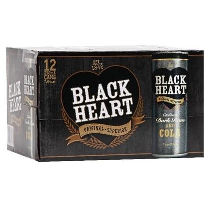 BLACK HEART DARK RUM COLA 12PK CANS BLACK HEART DARK RUM COLA 12PK CANS