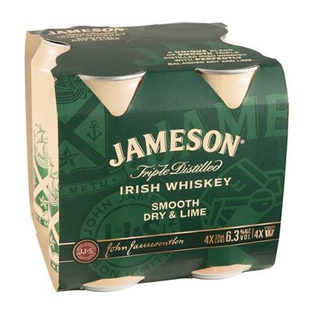 JAMESON DRY & LIME 6.3%, 4*375ML CANS JAMESON DRY & LIME 6.3%, 4*375ML CANS