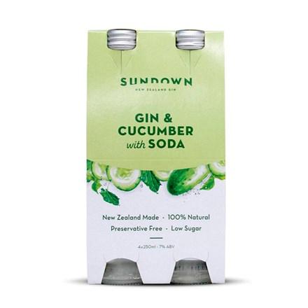 SUNDOWN GIN,CUCUMBER & SODA 7%, 4*250ML BTL SUNDOWN GIN,CUCUMBER & SODA 7%, 4*250ML BTL