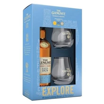 GLENLIVET FOUNDER'S RESERVE GIFT PACK 2 GLASSES GLENLIVET FOUNDER'S RESERVE GIFT PACK 2 GLASSES