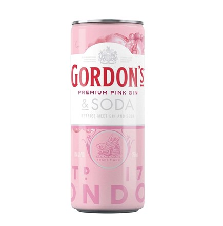 Gordons pink 7%, 4 pack, 250ml cans Gordons pink 7%, 4 pack, 250ml cans