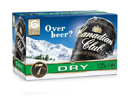 Canadian club and dry 7% 6 pack 330ml cans Canadian club and dry 7% 6 pack 330ml cans