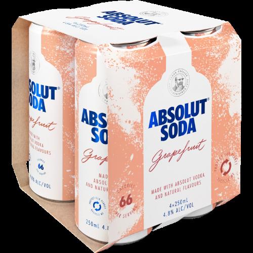 ABSOLUT SODA GRAPEFRUIT 4.8%, 4*250ML CANS ABSOLUT SODA GRAPEFRUIT 4.8%, 4*250ML CANS