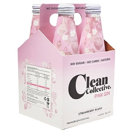 Clean collective pink gin 4 pack 330ml bottles Clean collective pink gin 4 pack 330ml bottles