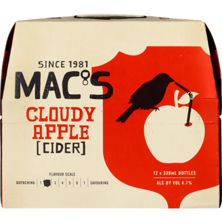 MACS CLOUDY APPLE 12 PACK 330ML BOTTLES MACS CLOUDY APPLE 12 PACK 330ML BOTTLS