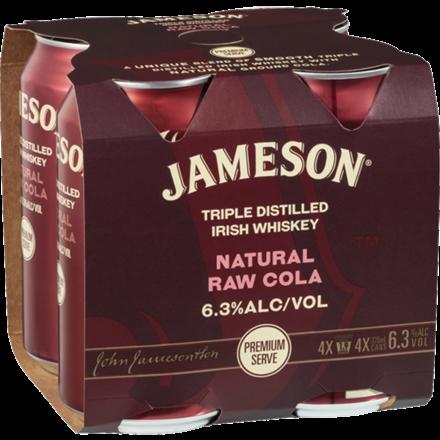 JAMESON & RAW COLA 6.3%, 4*375ML CANS JAMESON & RAW COLA 6.3%, 4*375ML CANS
