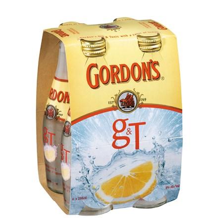 Gordons gin and tonic 4 pack, 330 ml bottles Gordons gin and tonic 4 pack, 330 ml bottles