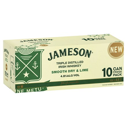 JAMESON SMOOTH DRY & LIME 4.8%, 10*375ML CANS JAMESON SMOOTH DRY & LIME 4.8%, 10*375ML CANS
