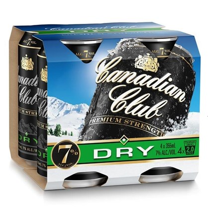 Canadian club dry 7% 4 pack 330ml cans Canadian club dry 7% 4 pack 330ml cans