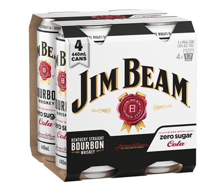 Jim beam & zero cola 4*440ml cans Jim beam & zero cola 4*440ml cans