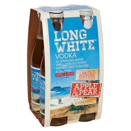 LONG WHITE APPLE & PEAR 4.8%, 4*320ML BTLS LONG WHITE APPLE & PEAR 4.8%, 4*320ML BTLS