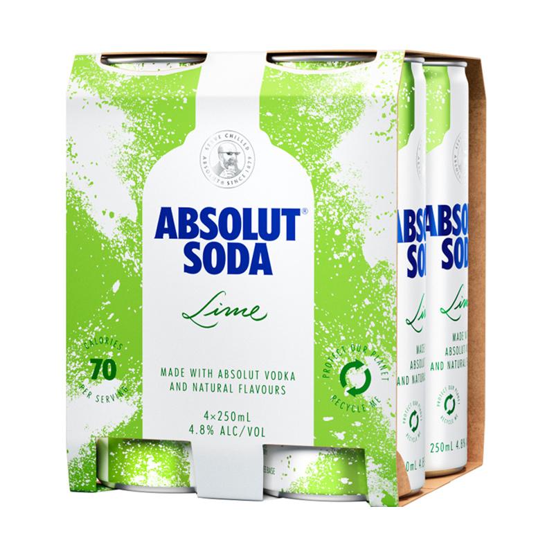 ABSOLUT SODA LIME 4.8%, 4*250ML CANS ABSOLUT SODA LIME 4.8%, 4*250ML CANS