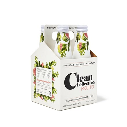Clean collective watermelon, cucumber and lime 4 pack bottles Clean collective watermelon, cucumber and lime