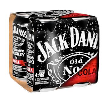 JACK DANIEL & COLA 4*330ML CANS JACK DANIEL & COLA 4*330ML CANS