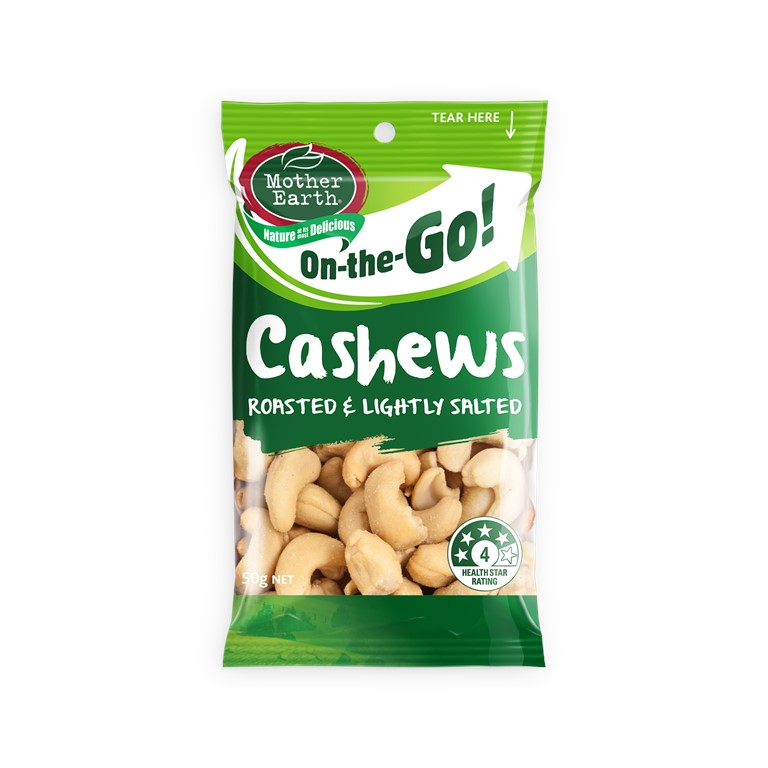 MOTHER EART ROASTED AND LIGHTLY SALETED CASHEWS 50G MOTHER EART ROASTED AND LIGHHEWS 50G