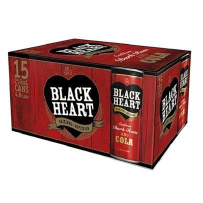 BLACK HEART & COLA 5%,15*250ML CANS BLACK HEART & COLA 5%,15*250ML CANS