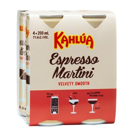 KAHLUA ESPRESSO MARTINI 7%, 4*250ML CANS KAHLUA ESPRESSO MARTINI 7%, 4*250ML CANS
