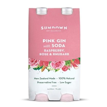 Sundown  pink gin and soda 7%, 4 pack 330ML bottles Sundown  pink gin and soda 7%, 4 pack 330