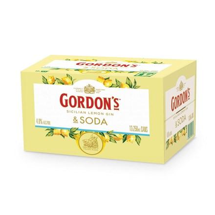 Gordons Sicilian Lemon and Tonic 4% 250mL Can 12 Pack Gordons Sicilian Lemon 12 PK