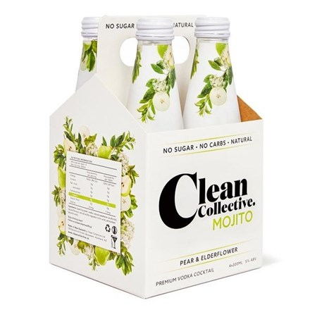 CLEAN COLLECTIVE MOJITO PEAR & ELDER FLOWER 5%,  4*300ML CLEAN COLLECTIVE MOJITO PEAR & ELDER FLOWER 5%